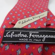 Salvatore Ferragamo Neck-Tie Fish Salmon Pink Silk Photo