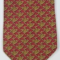 Salvatore Ferragamo Recent Red/brown Golf Clubs Check Silk Necktie Tie Photo