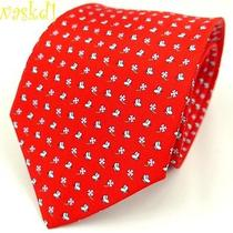 Salvatore Ferragamo Red With Clovers & Butterflies Silk Mens Tie Nwt Authentic Photo