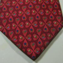 Salvatore Ferragamo Rich Red Clover Blue White Flowers Tie 100% Silk Italy Photo