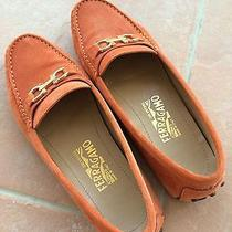Salvatore Ferragamo Saba Suede Driving Moccasin Loafers Sunset Size 7 Photo