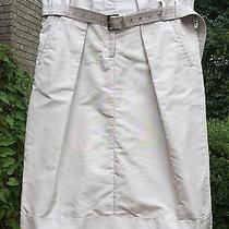 Salvatore Ferragamo Shiny Khaki Silk Tulip Skirt   Pre-Owned   Size 42 Photo