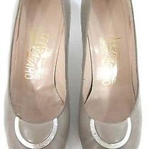 Salvatore Ferragamo Shoes 7 B Beige Kitten Heels Mother of Pearl Bows Womens Photo