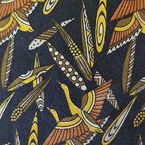 Salvatore Ferragamo Silk Neck Tie Black With Birds Photo