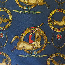 Salvatore Ferragamo Silk Neck Tie Blue With Horses and Birds Photo