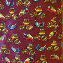 Salvatore Ferragamo Silk Neck Tie Red With Birds and Tribal Pottery Photo