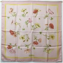 Salvatore Ferragamo Silk Scarf Pink Floral With Box Second Hand S Rank Gift Photo