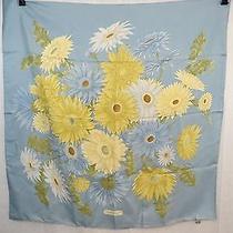 Salvatore Ferragamo Silk Sky Blue/ Sunflower Print Scarf  Photo