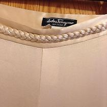 Salvatore Ferragamo Silky Smooth Dress Pants Nwt Creme / Gold Free Shipping Photo