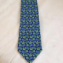 Salvatore Ferragamo Tie Silk Designer Clover Pattern Blue Green Dress Necktie Photo
