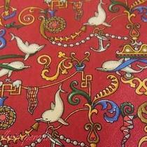 Salvatore Ferragamo Tie Silk Designer Dolphin Ethnic Pattern Red Dress Necktie Photo