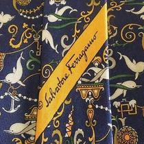 Salvatore Ferragamo Tie Silk Designer Dolphin Pattern Navy Blue Dress Necktie Photo