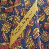 Salvatore Ferragamo Tie Silk Designer Drum Theme Pattern Blue Dress Necktie Photo