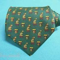Salvatore Ferragamo Tie Silk Designer Seat Cat Pattern Green Dress Necktie Italy Photo