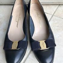 Salvatore Ferragamo Vara Bow Navy Blue Leather Heel Pump Shoes Women Sz 6 1/2 B Photo