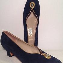 Salvatore Ferragamo Vintage Navy Blue Suede Heels W/gold trim&accent Women's 8b Photo