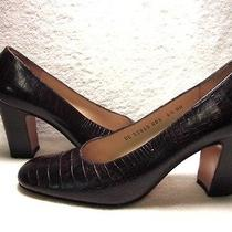Salvatore Ferragamo Vtg Bark Brown Alligator Lizard Dress Heels Shoes Ballet 6.5 Photo