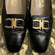 Salvatore Ferragamo Women's Black Croc Print Leather Heels Pumps Shoe Size 8 Aa Photo
