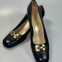 Salvatore Ferragamo Womens Gold Horsebit Black Leather Pump Shoes 7.5 2a Photo