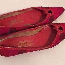 Salvatore Ferragamo Women's Size 8 1/2 Aa Red/hot Pink/burgandy Photo