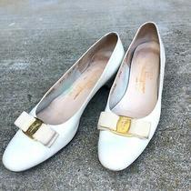 Salvatore Ferragamo Women  White Leather Low Heel Pumps Cloud Gold Accent Sz 9.5 Photo