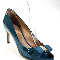 Salvatore Ferragamo Womens Peep Toe Blue Leather Pumps Heels Size 7.5d Photo