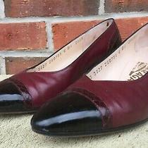 Salvatore Ferragamo Womens Pumps Shoes Sz 6 B Black Burgundy Low Heel 2