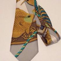 Salvatore Ferragamo Yellow Fish 100% Silk Tie Photo