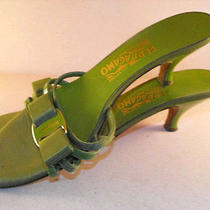 Salvatore Ferragamo Yellow Green Patent Heeled Sandals W/signature Bow/brass 8.5 Photo