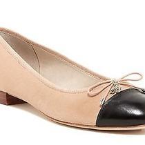 Sam Edelman Bev Cap Toe Bow Ballet Flat Blush/black Leather Nib 130 8 Photo