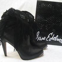 Sam Edelman Black Ankle Leather Beaded Boots Size 7 M - New W Box Photo