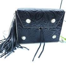 Sam Edelman Black Leather Embossed Metal Crossbody Purse Nwt See Details  Photo