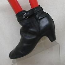Sam Edelman Black Leather Heeled Zip Buckle Ankle Boots Booties Size 9 M Photo
