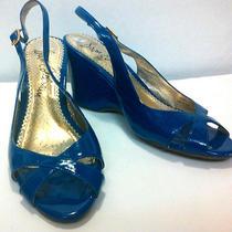 Sam Edelman Blue Patent Leather Open Toe Wedge Sling Back Sandals Sz 6 M Photo
