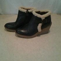 Sam Edelman Boots Wedge Ankle Boots Layla Black Leather Size 8.5 Photo