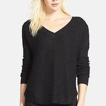 Sam Edelman Boxy Rib Knit v-Neck Sweater Black Size Xs  Photo