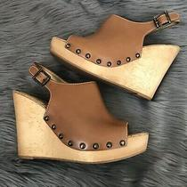 Sam Edelman Camilla Brown Wedge Slingback Sandal Size 9 M Buckle Peep Toe Boho  Photo
