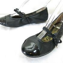 Sam Edelman Catrina Ballet Flats 6 M Black Leather Cap Toe Mary Jane Slip Ons Photo
