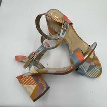 Sam Edelman Circus Block Heel Strappy Sandals Sz 9 Womens Summer Blue Orange  Photo