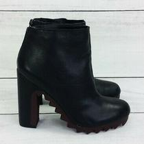 Sam Edelman Circus Kensley Black Leather Ankle Boots Heels Booties Photo