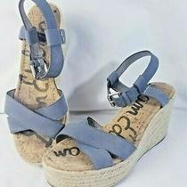 Sam Edelman Destin Espadrille Wedge Sandals Stone Blue Gray Size 8.5 Photo
