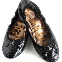 Sam Edelman Felicia Size 5.5 Black Glitter Flats in Euc Photo