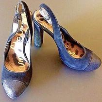 Sam Edelman Finn Black Suede Glitter Slingback Platform Heels Pumps Shoes Size 6 Photo