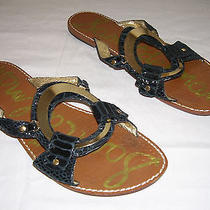 Sam Edelman Gloria Black Leather Metal O-Ring Slide Sandals 9 Pre-Owned  Photo