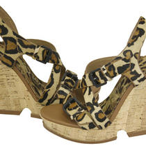 Sam Edelman Josie Cork Platform Wedge Sandals Leopard Shoes 6 New Photo