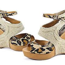 Sam Edelman Katie Leopard Natural Wedge Platform Sandal Shoes 7.5 New Photo