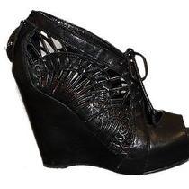 Sam Edelman Kellan Black Leather Open Toe Chunky Wedge Shoe Sz 6 180069sl Photo