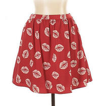 Sam Edelman Kiss Valentines Skirt Size 2 Red Graphic Print Mini Mid Rise a Line Photo