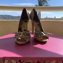 Sam Edelman Lorna Gold Heels With Studded Bow Size 8.5 M Photo