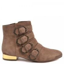 Sam Edelman Nolan Ankle Boot Camel Tan Suede Gold Heel Size 8 Photo
